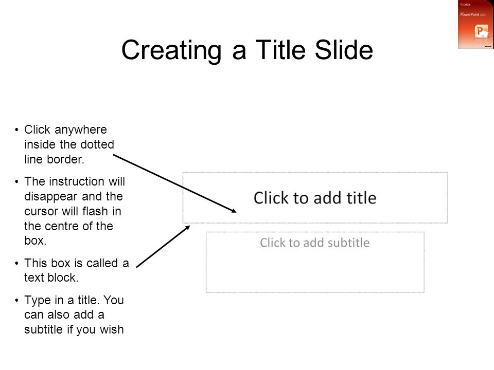 Creating a Title Slide Click anywhere inside the dotted line border.