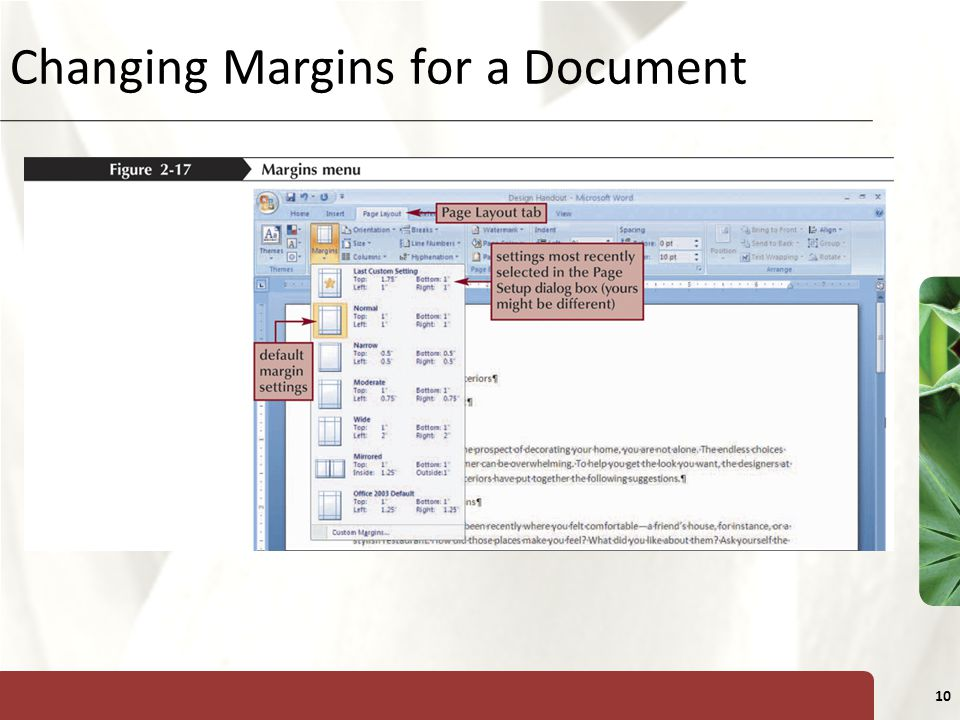 XP 10 Changing Margins for a Document