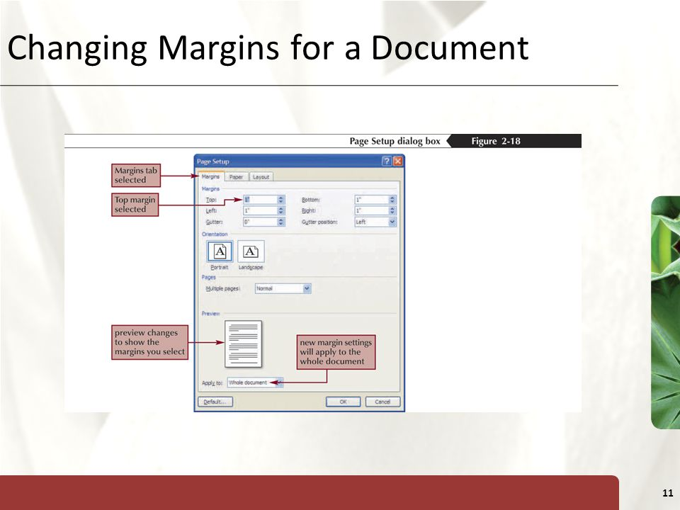 XP 11 Changing Margins for a Document