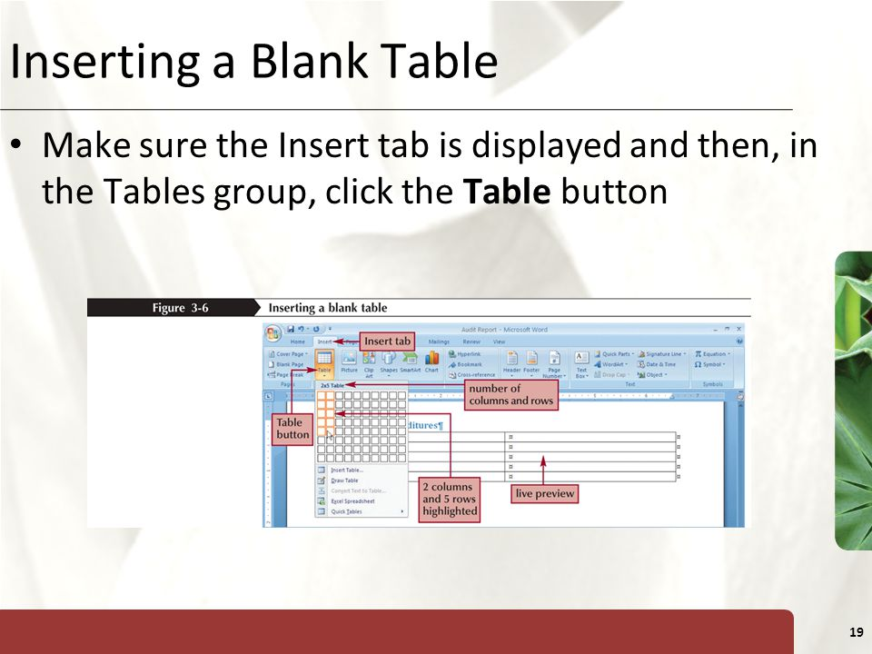 XP 19 Inserting a Blank Table Make sure the Insert tab is displayed and then, in the Tables group, click the Table button