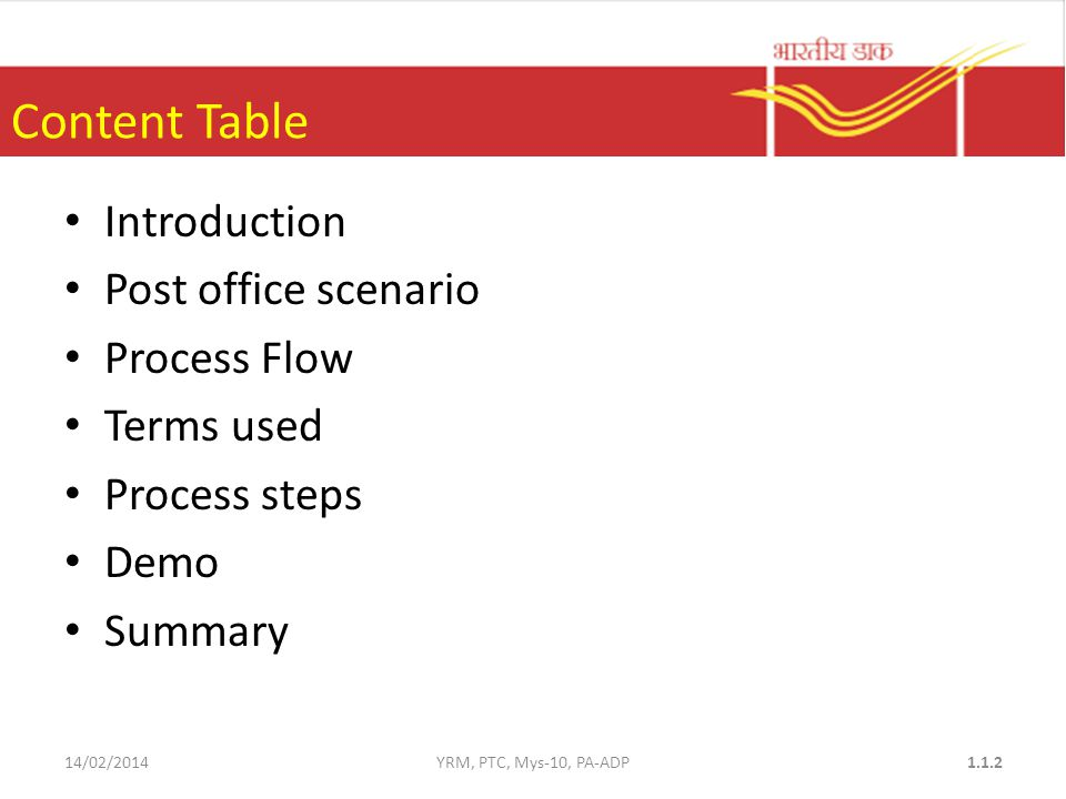 Content Table Introduction Post office scenario Process Flow Terms used Process steps Demo Summary 14/02/2014YRM, PTC, Mys-10, PA-ADP1.1.2
