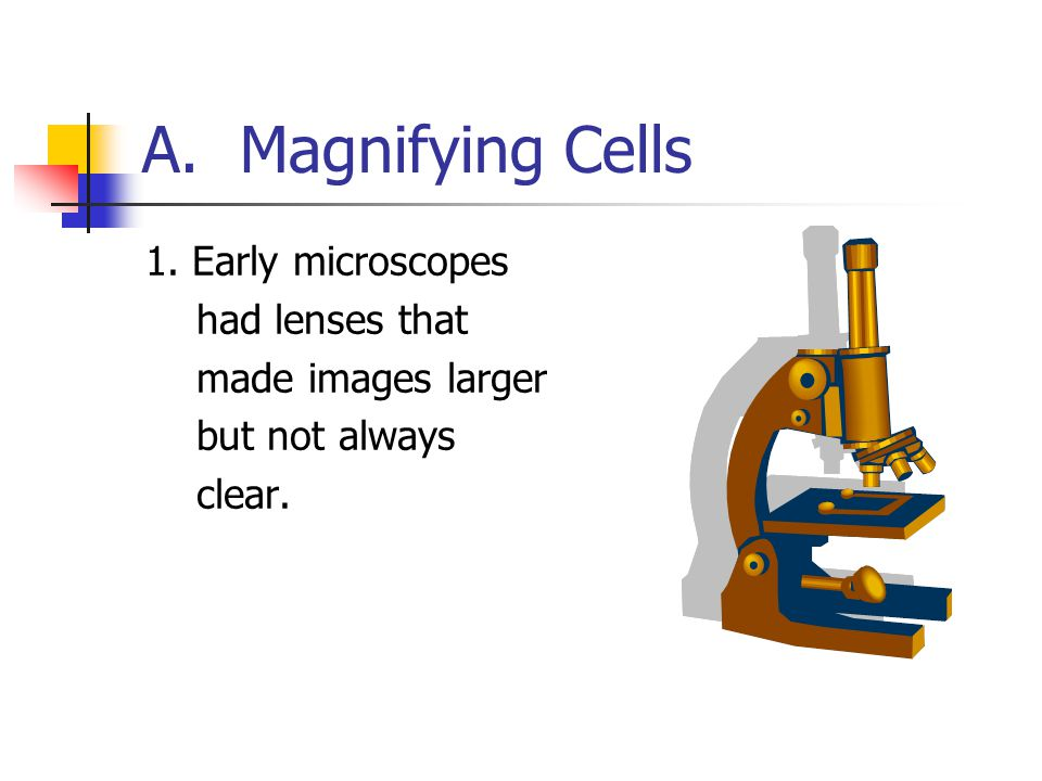 A. Magnifying Cells 1. Early microscopes had lenses that made images larger but not always clear.