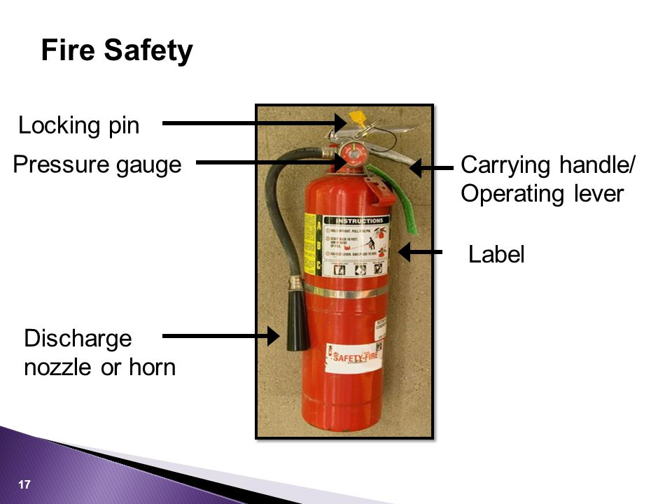 Fire Safety 17 Label Locking pin Carrying handle/ Operating lever Pressure gauge Discharge nozzle or horn