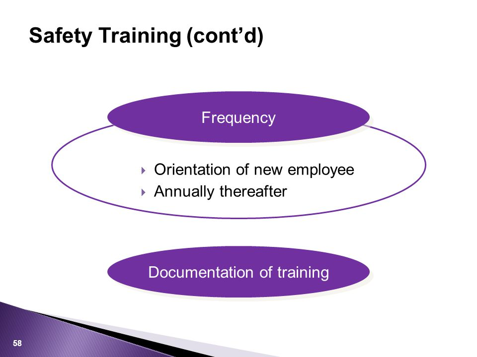 Safety Training (cont'd) 58  Orientation of new employee  Annually thereafter Frequency Documentation of training