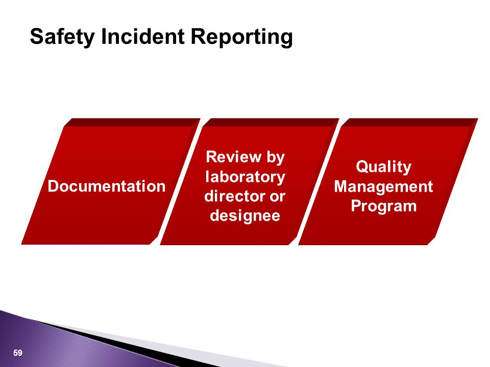 Safety Incident Reporting 59 Documentation Review by laboratory director or designee Quality Management Program