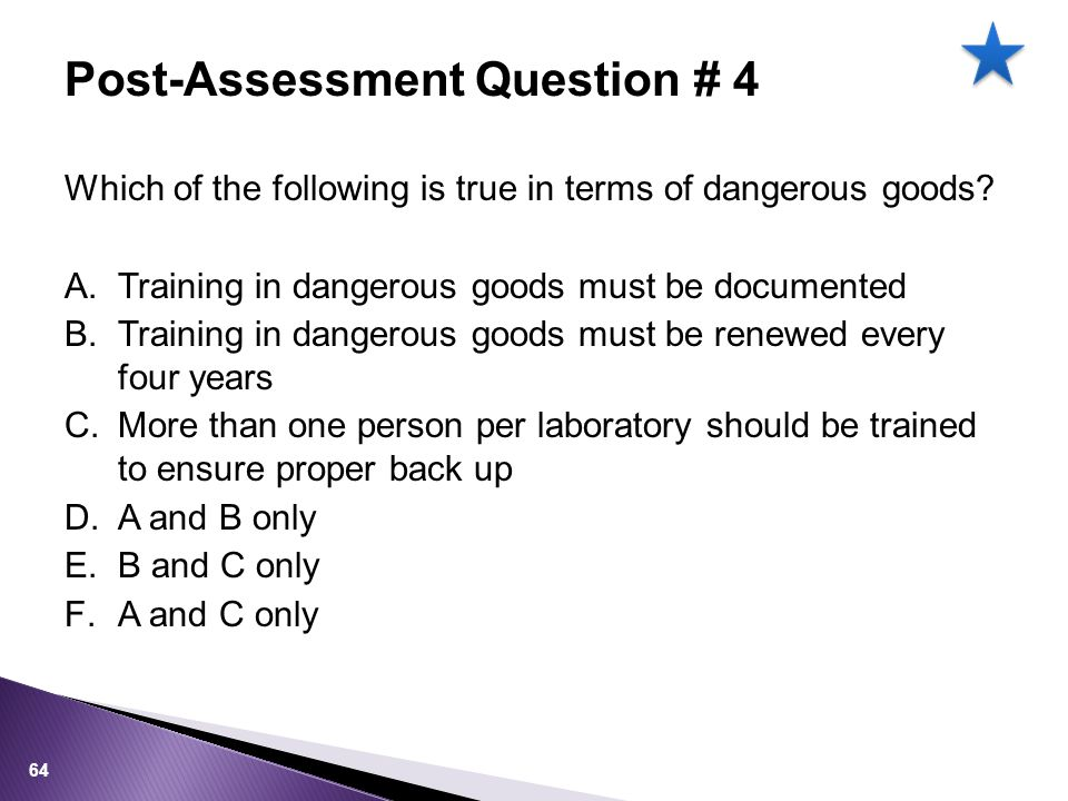 Which of the following is true in terms of dangerous goods.