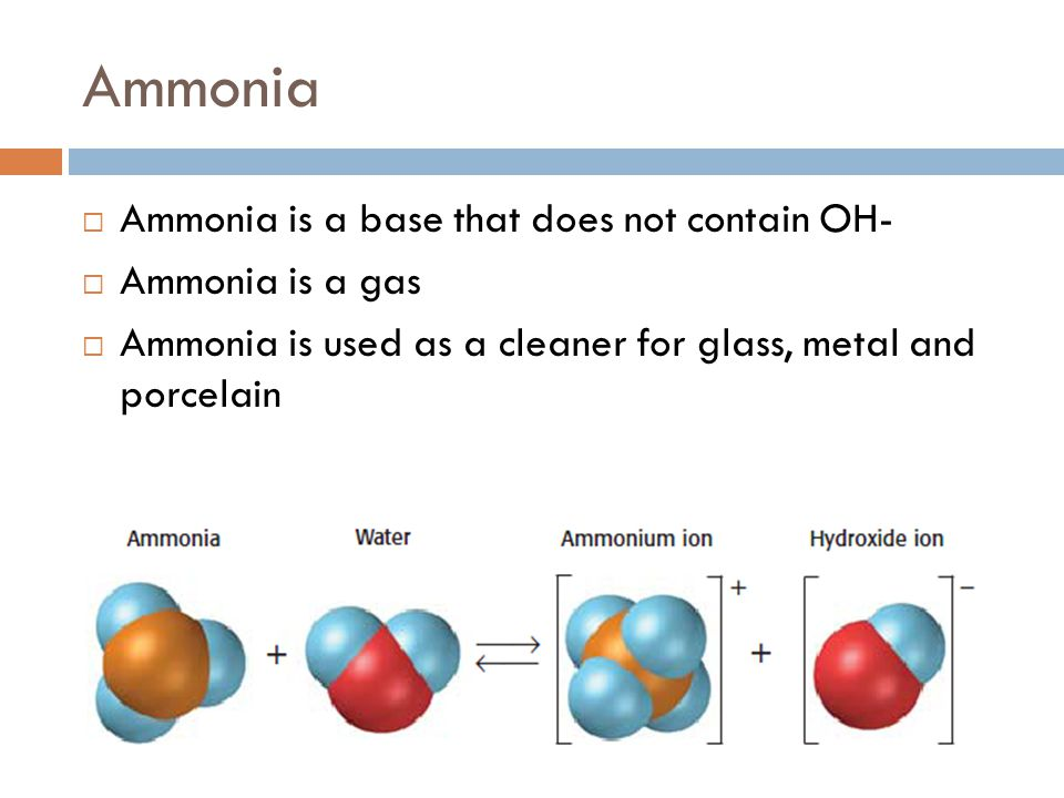 Ammonia  Ammonia is a base that does not contain OH-  Ammonia is a gas  Ammonia is used as a cleaner for glass, metal and porcelain