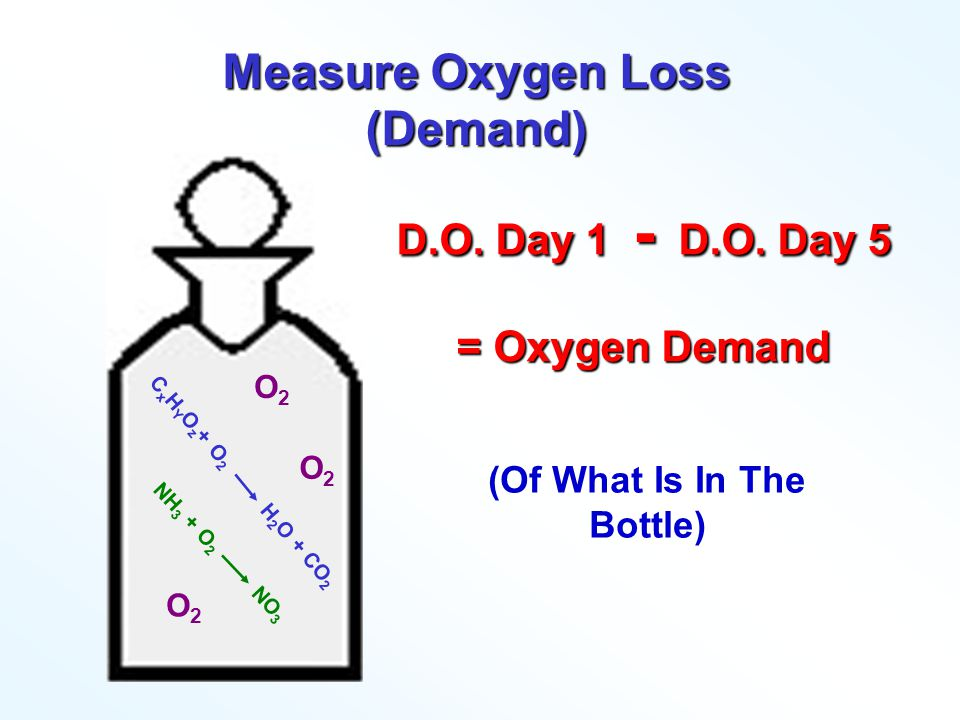 O 2 O 2 O 2 Incubate 5 Days Some Oxygen Used: Respiration Nitrification C x H Y O z + O 2 H 2 O + CO 2 NH 3 + O 2 NO 3 Measure D.O.
