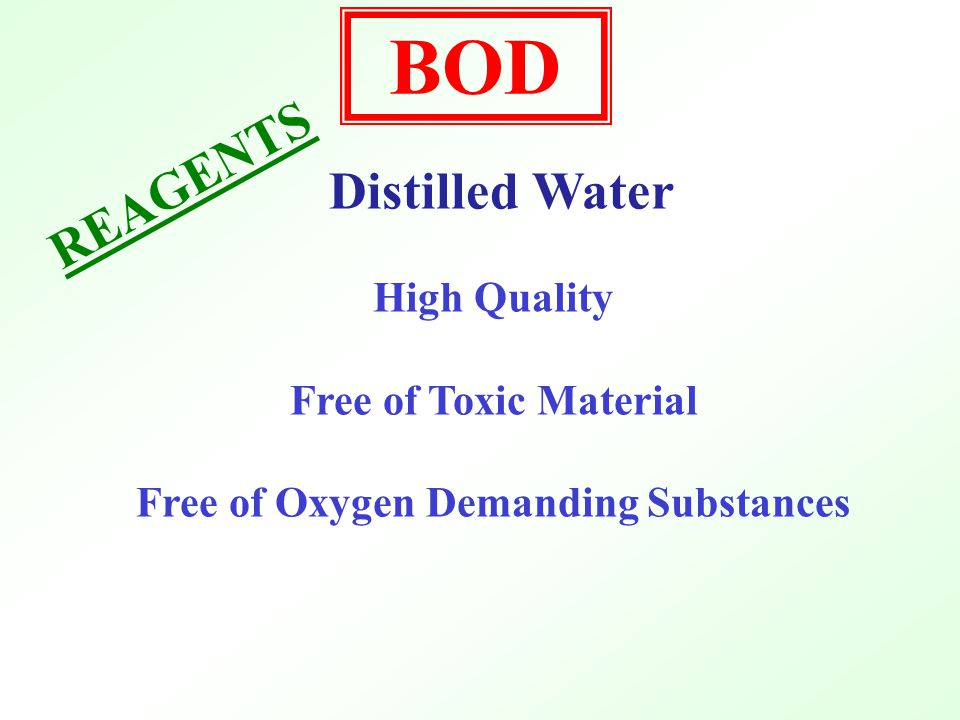 O2O2 O2O2 O2O2 C x H Y O z + O 2 H 2 O + CO 2 NH 3 + O 2 NO 3 Measure Oxygen Loss (Demand) D.O.