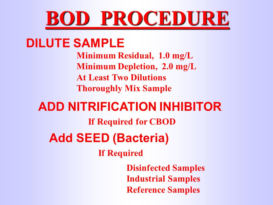 BOD PROCEDURE DILUTE SAMPLE Minimum Residual, 1.0 mg/L Minimum Depletion, 2.0 mg/L At Least Two Dilutions Thoroughly Mix Sample ADD NITRIFICATION INHIBITOR If Required for CBOD TCMP 0.10 gram/bottle Two shots