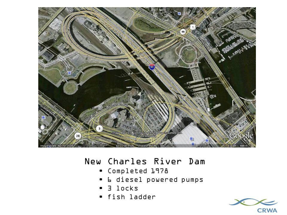 New Charles River Dam Completed diesel powered pumps 3 locks fish ladder