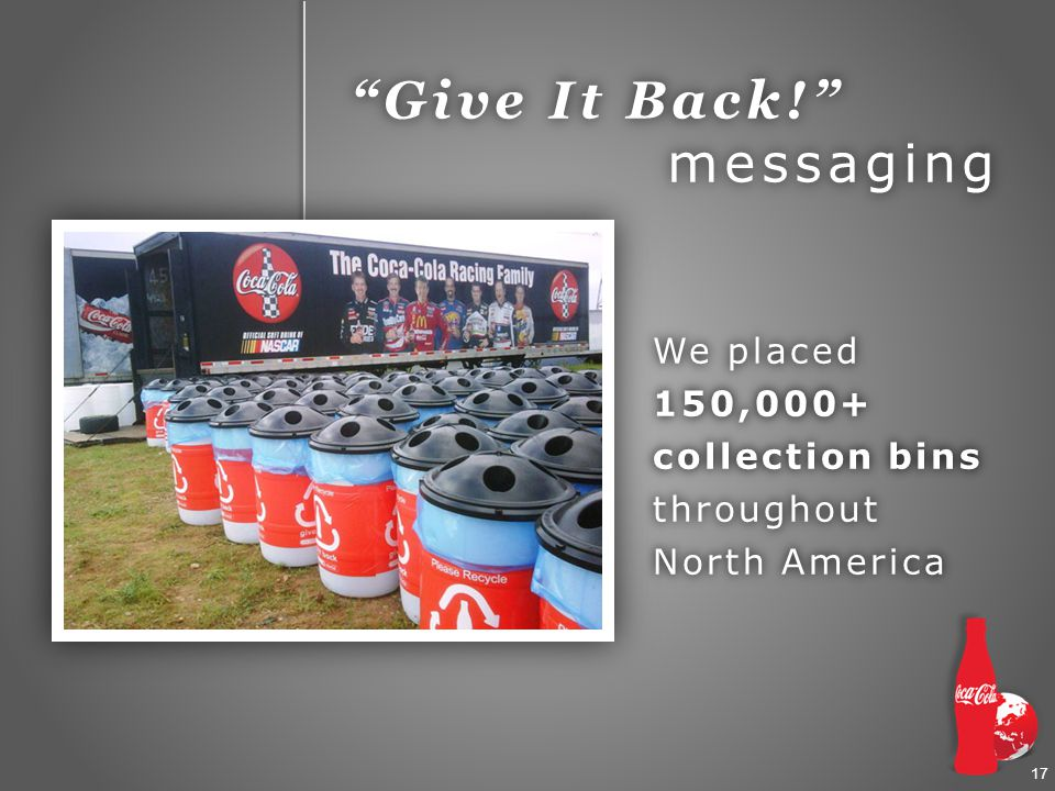 17 We placed 150,000+ collection bins throughout North America Give It Back! messaging