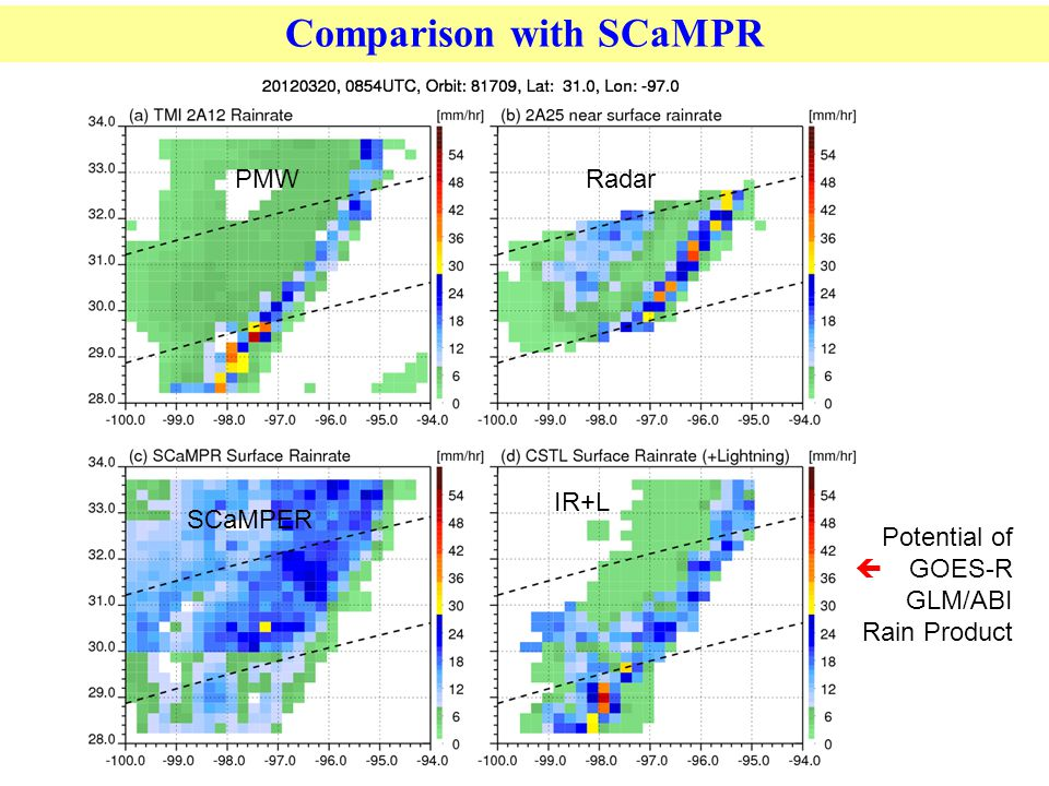 Comparison with SCaMPR PMWRadar IR+L SCaMPER Potential of  GOES-R GLM/ABI Rain Product
