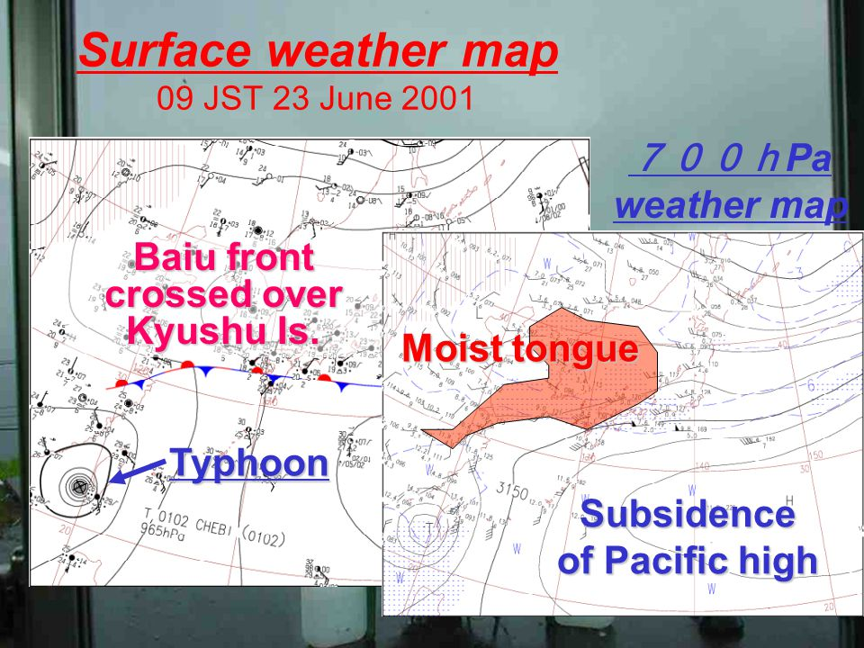 Surface weather map 09 JST 23 June 2001 Baiu front crossed over Kyushu Is.