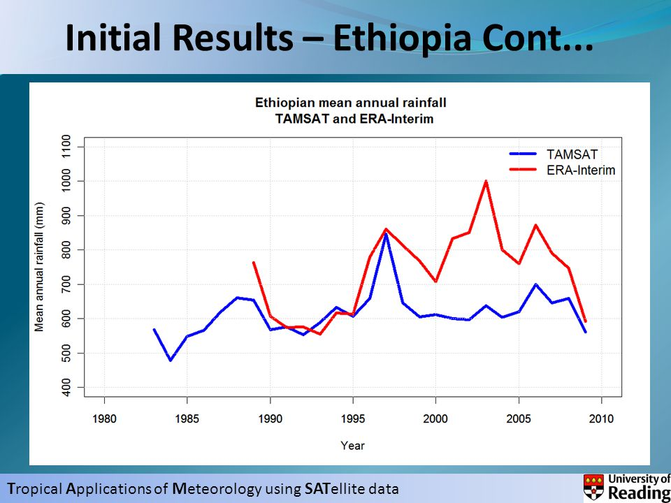 T ropical A pplications of M eteorology using SAT ellite data Initial Results – Ethiopia Cont...