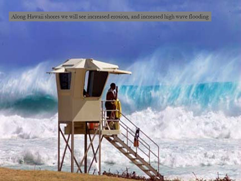 Along Hawaii shores we will see increased erosion, and increased high wave flooding
