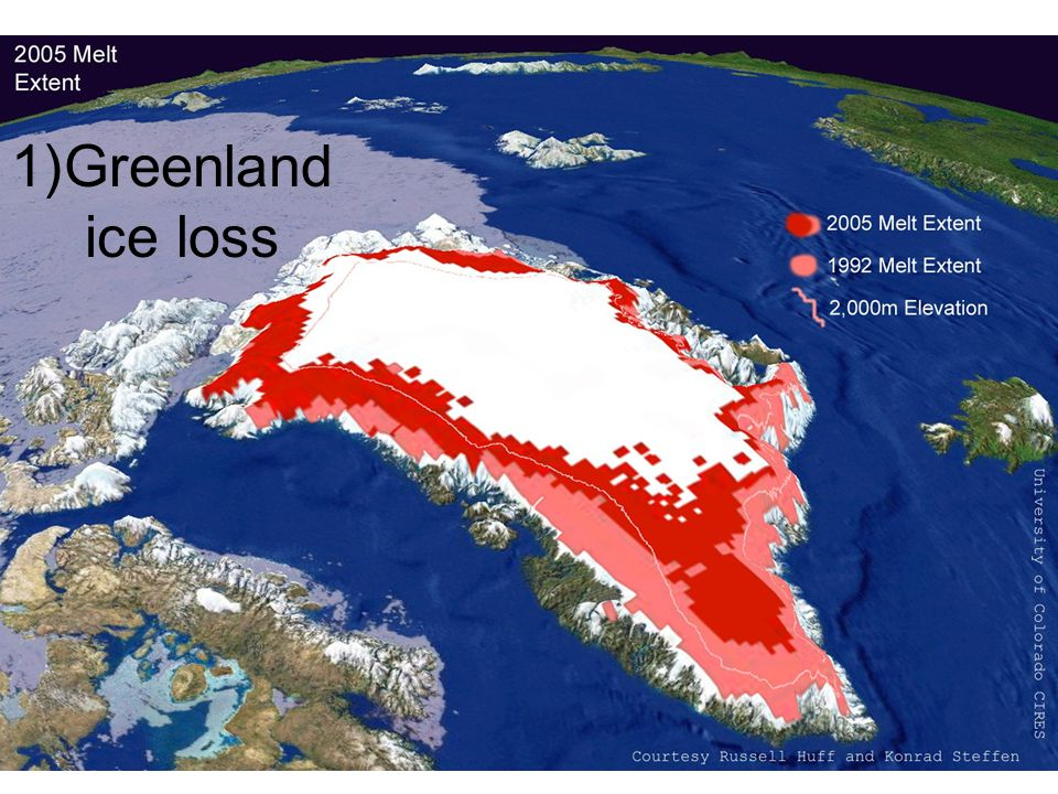 1)Greenland ice loss