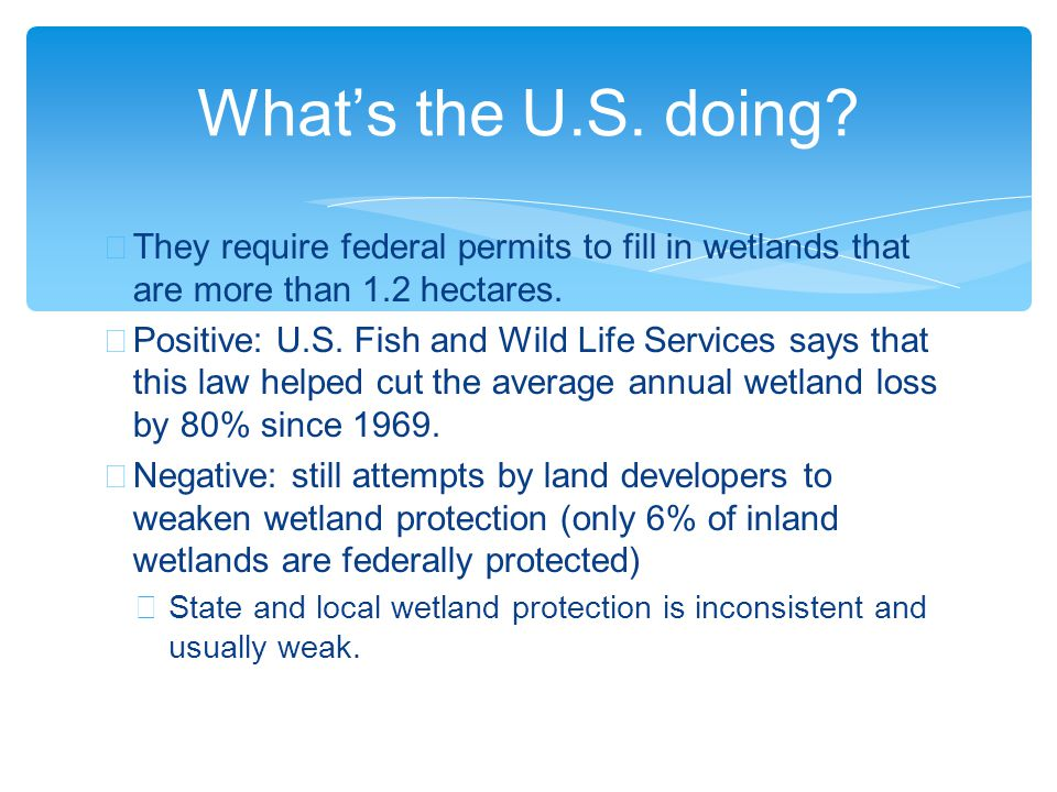 ∗ They require federal permits to fill in wetlands that are more than 1.2 hectares.