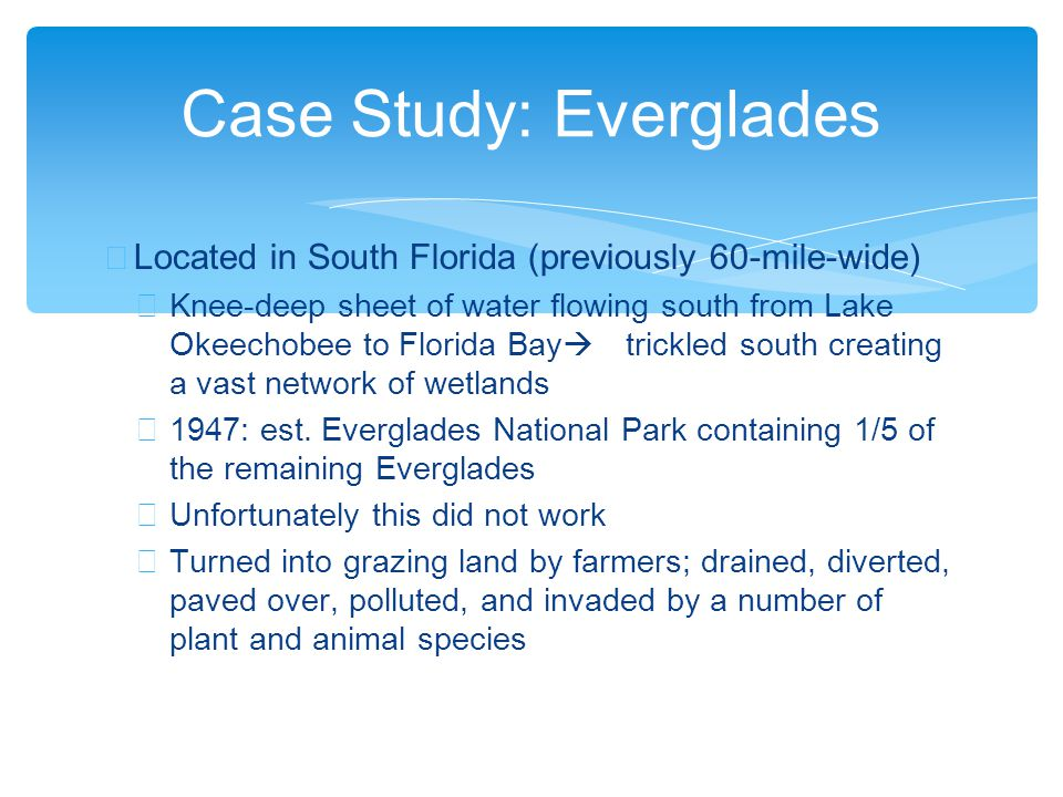 ∗ Located in South Florida (previously 60-mile-wide) ∗ Knee-deep sheet of water flowing south from Lake Okeechobee to Florida Bay  trickled south creating a vast network of wetlands ∗ 1947: est.