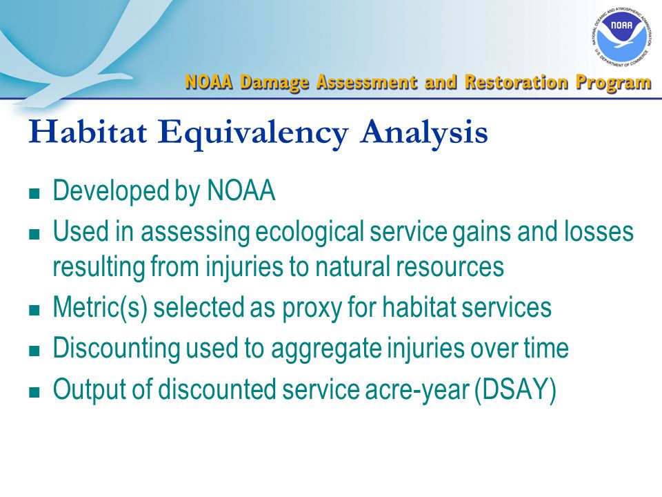 Habitat Equivalency Analysis n Developed by NOAA n Used in assessing ecological service gains and losses resulting from injuries to natural resources n Metric(s) selected as proxy for habitat services n Discounting used to aggregate injuries over time n Output of discounted service acre-year (DSAY)