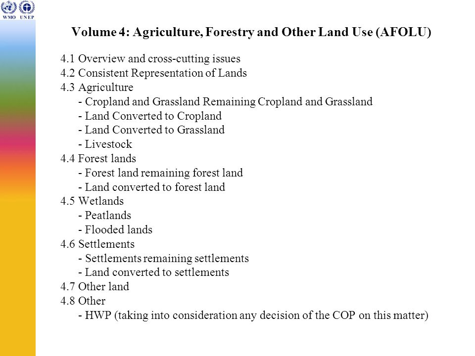 Volume 4: Agriculture, Forestry and Other Land Use (AFOLU) 4.1 Overview and cross-cutting issues 4.2 Consistent Representation of Lands 4.3 Agriculture - Cropland and Grassland Remaining Cropland and Grassland - Land Converted to Cropland - Land Converted to Grassland - Livestock 4.4 Forest lands - Forest land remaining forest land - Land converted to forest land 4.5 Wetlands - Peatlands - Flooded lands 4.6 Settlements - Settlements remaining settlements - Land converted to settlements 4.7 Other land 4.8 Other - HWP (taking into consideration any decision of the COP on this matter)