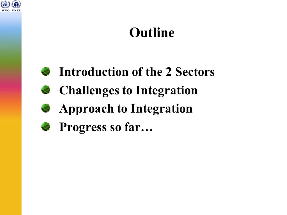 Outline Introduction of the 2 Sectors Challenges to Integration Approach to Integration Progress so far…