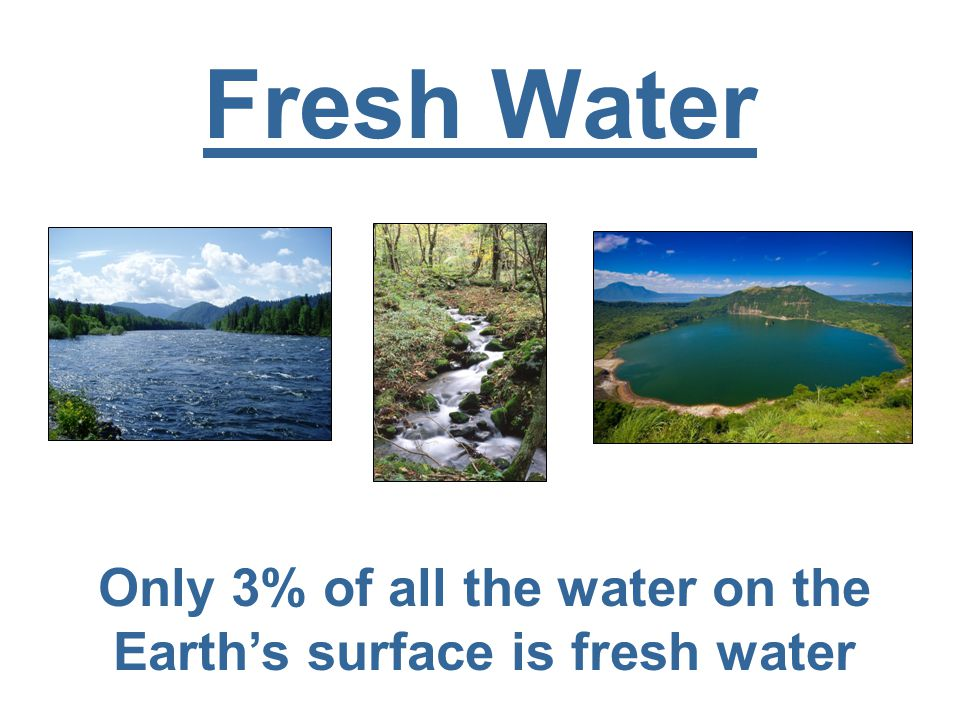 Fresh Water Only 3% of all the water on the Earth's surface is fresh water
