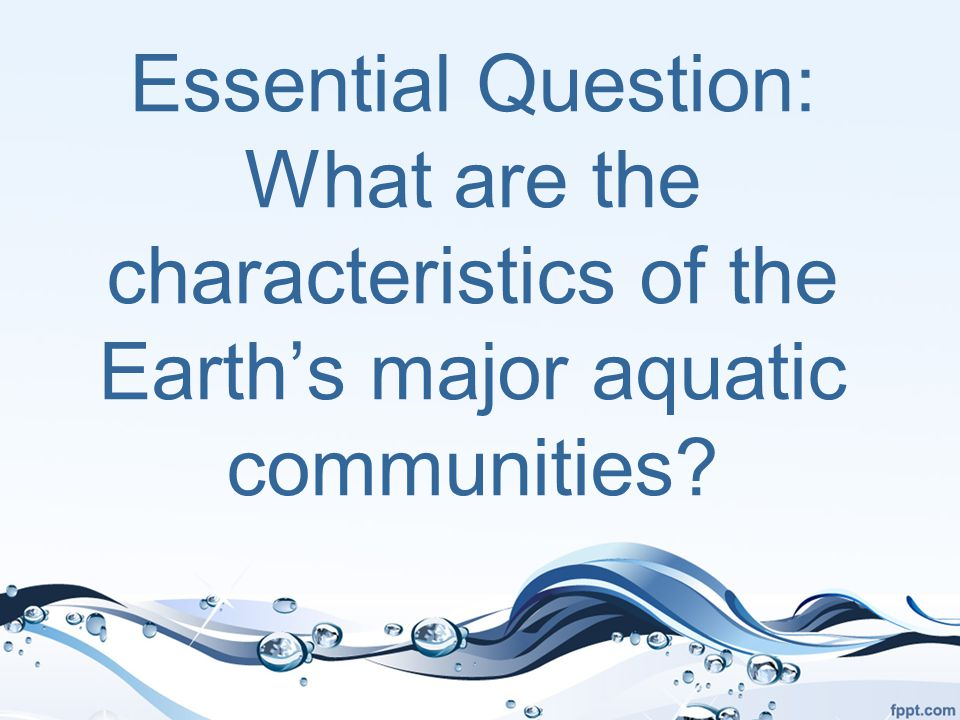 Essential Question: What are the characteristics of the Earth's major aquatic communities