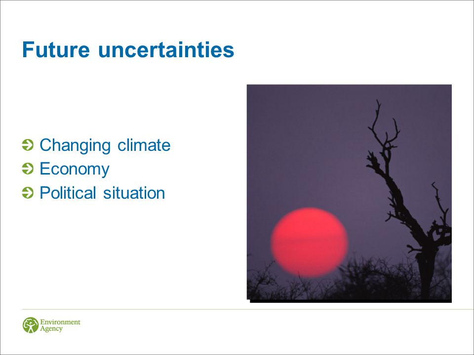 Future uncertainties Changing climate Economy Political situation