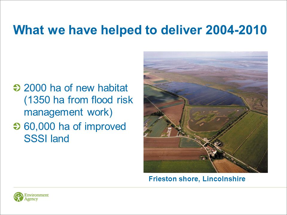 What we have helped to deliver ha of new habitat (1350 ha from flood risk management work) 60,000 ha of improved SSSI land Frieston shore, Lincolnshire