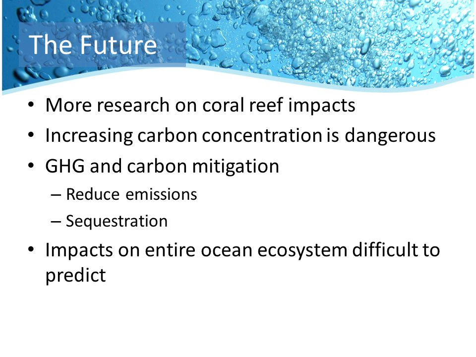 More research on coral reef impacts Increasing carbon concentration is dangerous GHG and carbon mitigation – Reduce emissions – Sequestration Impacts on entire ocean ecosystem difficult to predict The Future
