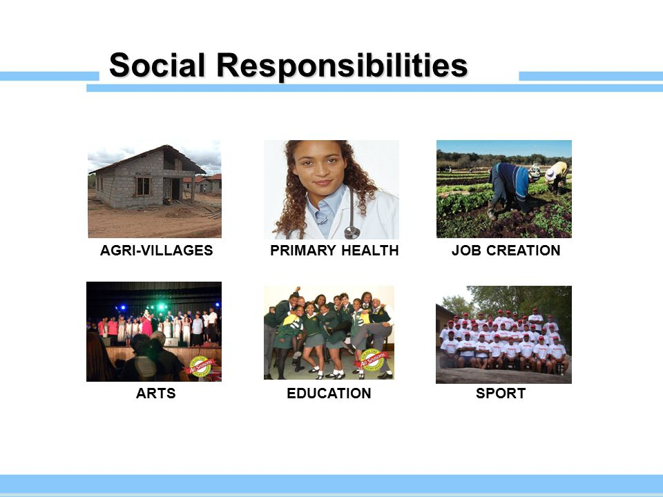 Social Responsibilities AGRI-VILLAGESPRIMARY HEALTHJOB CREATION SPORTEDUCATION ARTS