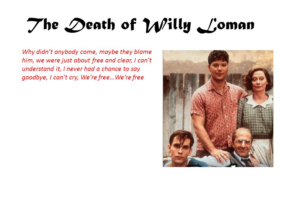 The Death of Willy Loman The death of Willy Loman doesn't seem to change Linda's view on him as a man.