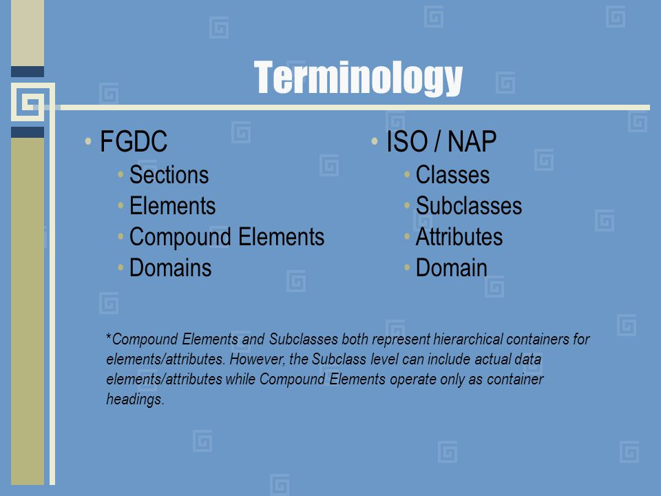 Terminology FGDC Sections Elements Compound Elements Domains ISO / NAP Classes Subclasses Attributes Domain * Compound Elements and Subclasses both represent hierarchical containers for elements/attributes.