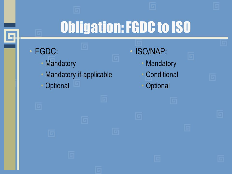 Obligation: FGDC to ISO FGDC: Mandatory Mandatory-if-applicable Optional ISO/NAP: Mandatory Conditional Optional