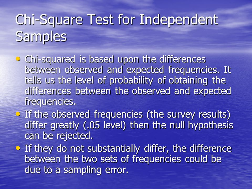 Chi-Square Test for Independent Samples Chi-squared is based upon the differences between observed and expected frequencies.
