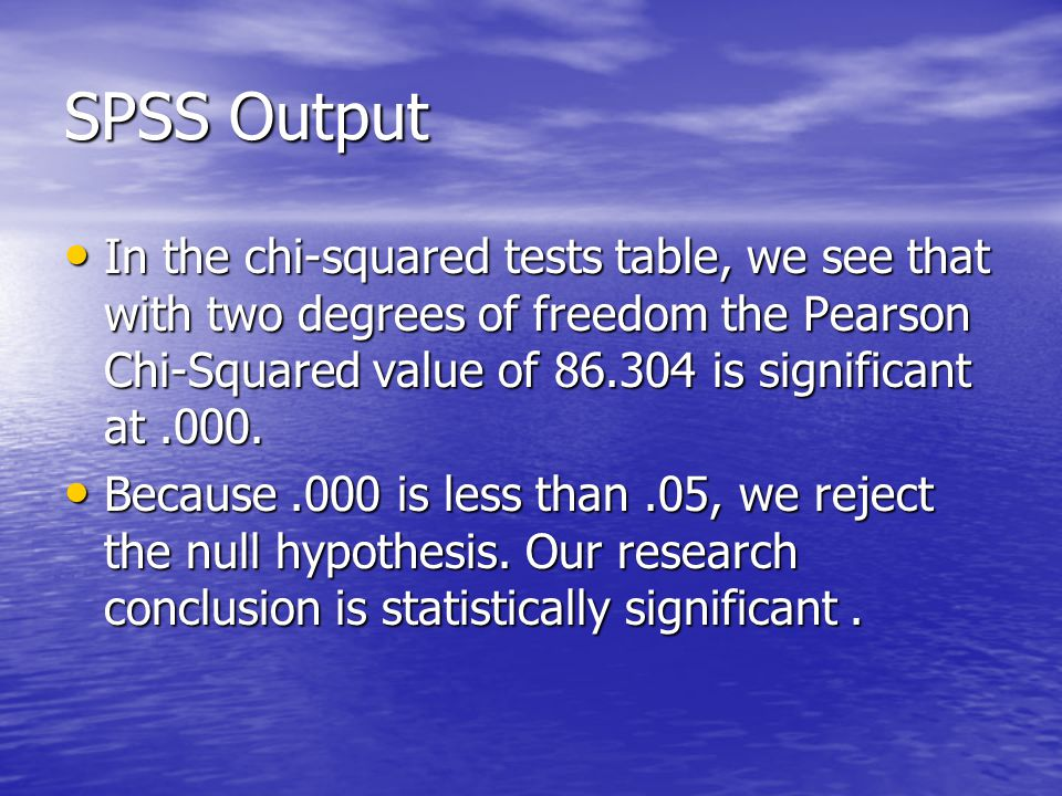 SPSS Output In the chi-squared tests table, we see that with two degrees of freedom the Pearson Chi-Squared value of is significant at.000.