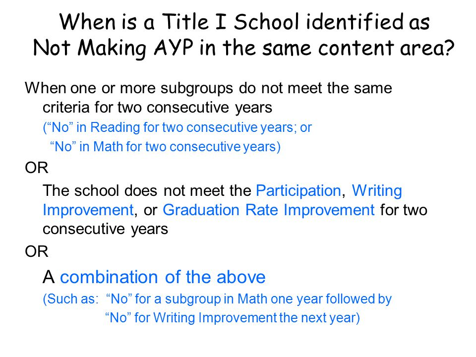When is a Title I School identified as Not Making AYP in the same content area.