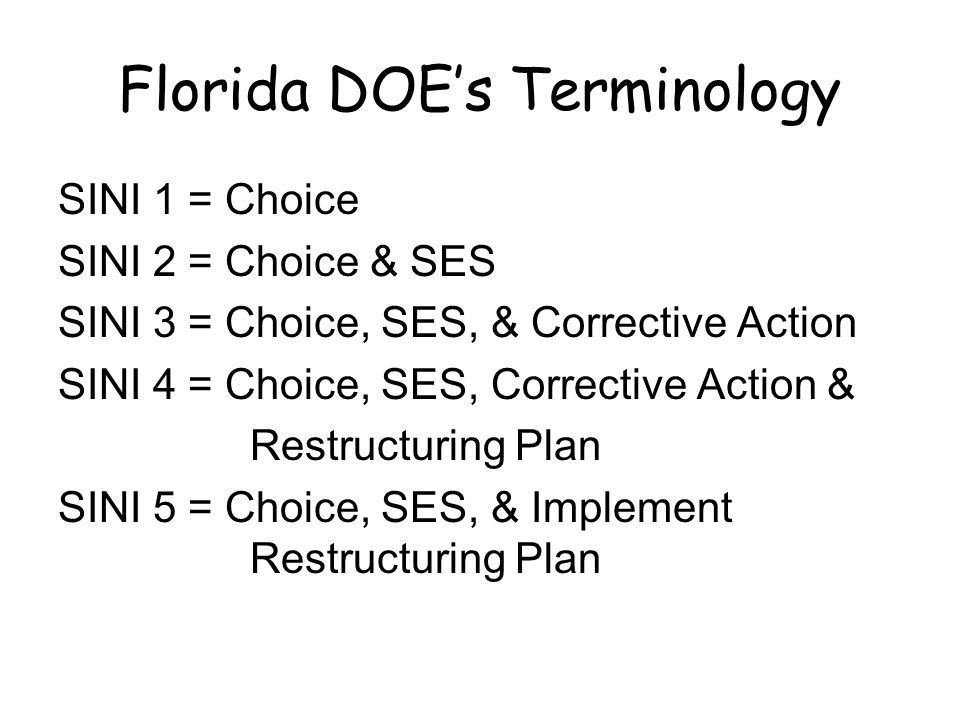 Florida DOE's Terminology SINI 1 = Choice SINI 2 = Choice & SES SINI 3 = Choice, SES, & Corrective Action SINI 4 = Choice, SES, Corrective Action & Restructuring Plan SINI 5 = Choice, SES, & Implement Restructuring Plan