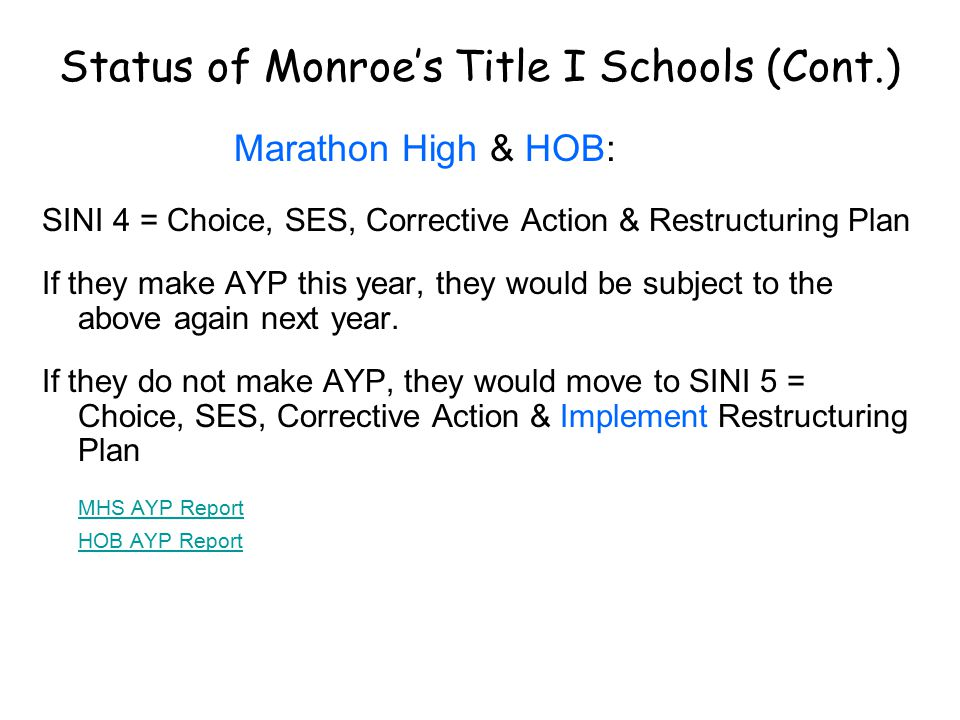 Status of Monroe's Title I Schools (Cont.) Marathon High & HOB: SINI 4 = Choice, SES, Corrective Action & Restructuring Plan If they make AYP this year, they would be subject to the above again next year.