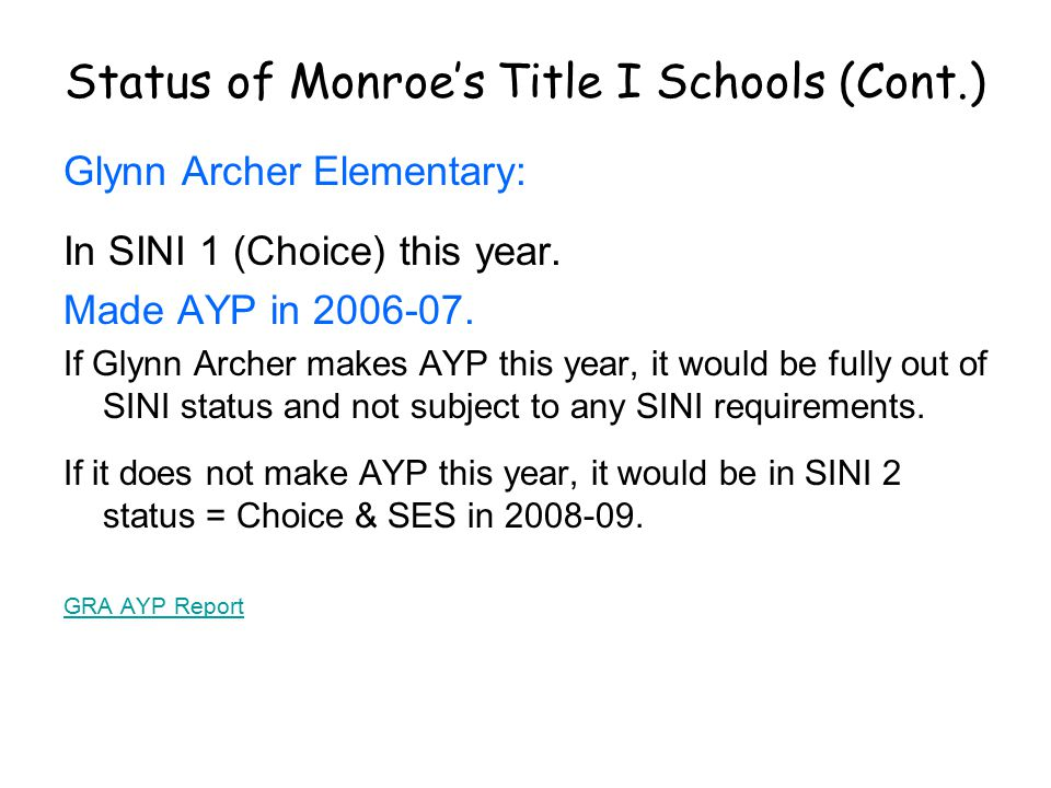 Status of Monroe's Title I Schools (Cont.) Glynn Archer Elementary: In SINI 1 (Choice) this year.