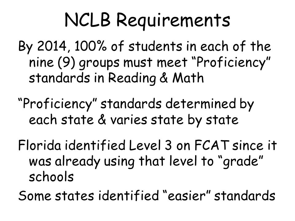 NCLB Requirements By 2014, 100% of students in each of the nine (9) groups must meet Proficiency standards in Reading & Math Proficiency standards determined by each state & varies state by state Florida identified Level 3 on FCAT since it was already using that level to grade schools Some states identified easier standards