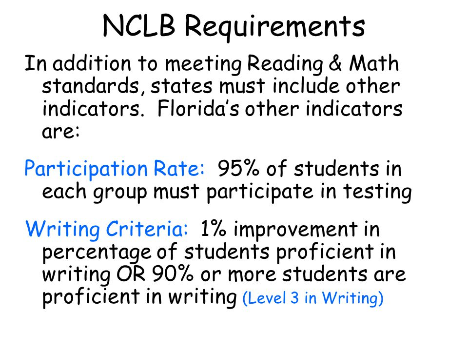 NCLB Requirements In addition to meeting Reading & Math standards, states must include other indicators.