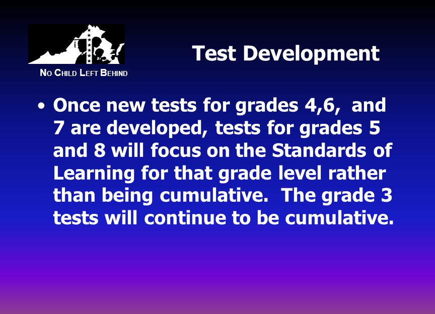 N O C HILD L EFT B EHIND Test Development Once new tests for grades 4,6, and 7 are developed, tests for grades 5 and 8 will focus on the Standards of Learning for that grade level rather than being cumulative.