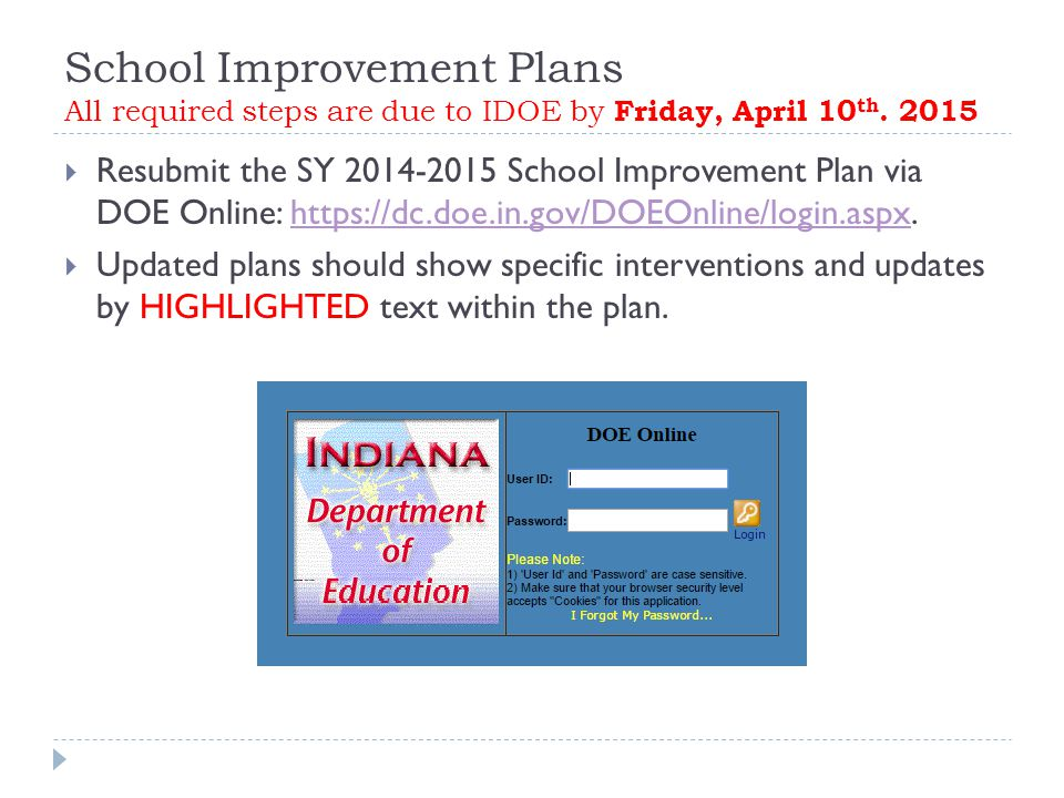 School Improvement Plans All required steps are due to IDOE by Friday, April 10 th.