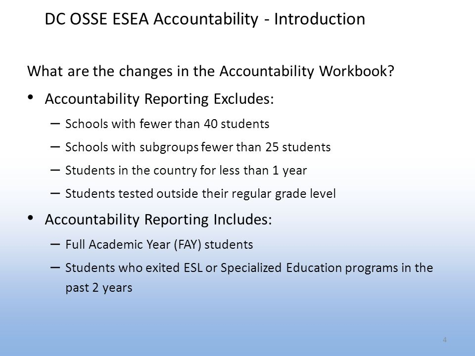 DC OSSE ESEA Accountability - Introduction What are the changes in the Accountability Workbook.