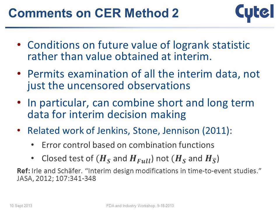Comments on CER Method 2 FDA and Industry Workshop Sept 2013