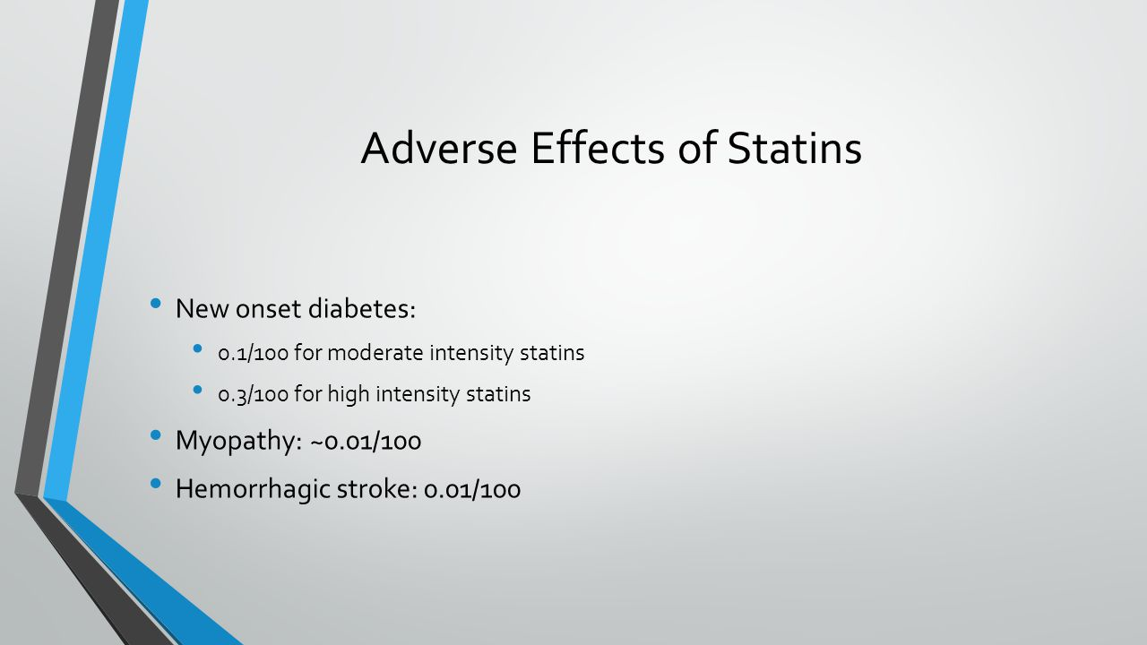Adverse Effects of Statins New onset diabetes: 0.1/100 for moderate intensity statins 0.3/100 for high intensity statins Myopathy: ~0.01/100 Hemorrhagic stroke: 0.01/100