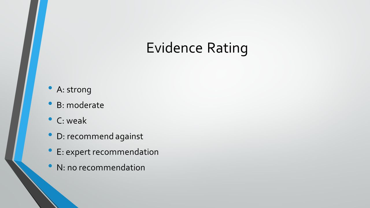 Evidence Rating A: strong B: moderate C: weak D: recommend against E: expert recommendation N: no recommendation
