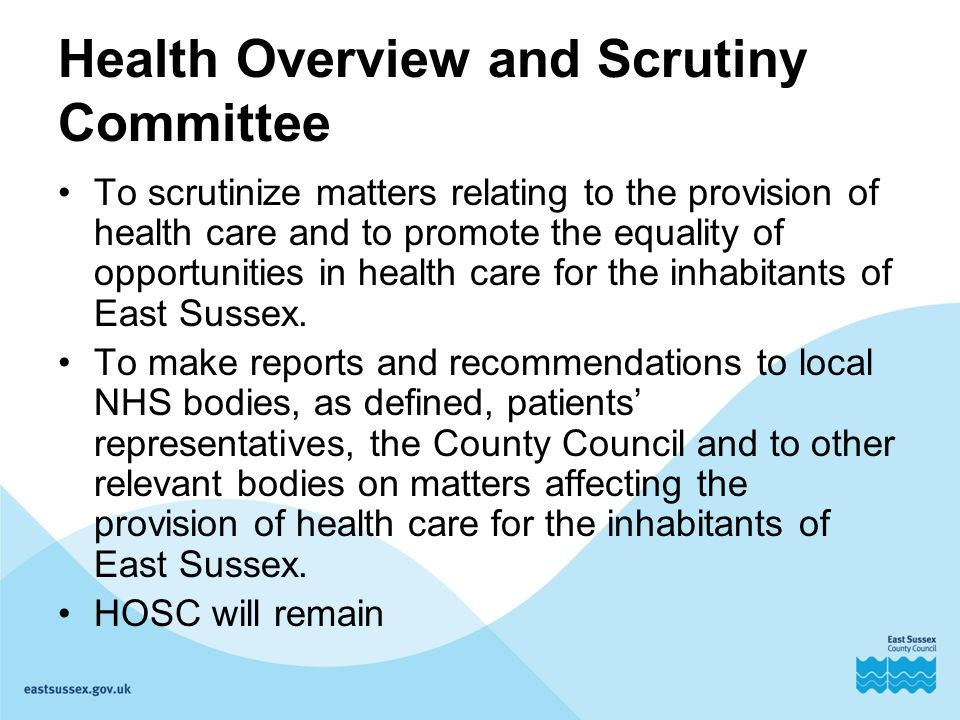 Health Overview and Scrutiny Committee To scrutinize matters relating to the provision of health care and to promote the equality of opportunities in health care for the inhabitants of East Sussex.